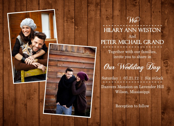 Rustic Wedding Invitations With Photo for beautiful invitations template