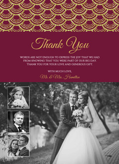 Decorative Faux Gold Glitter Scallop Wedding Thank You Card