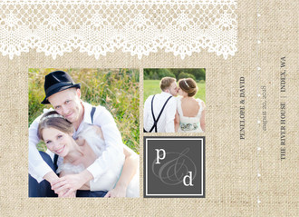 Beautiful Burlap & Vintage Lace Wedding Thank You Booklet