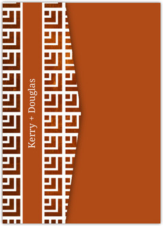 Geometric Rustic Copper Pattern Pocketfold Wedding Invitation
