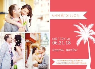 Pink and Orange Tropical Destination Wedding Announcement